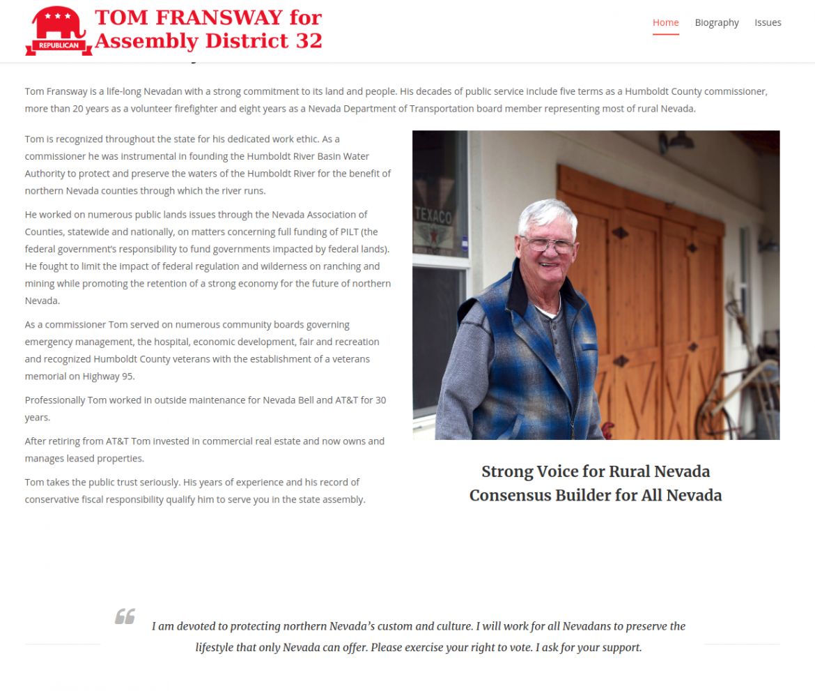 Tom Fransway for Nevada Assembly District 32